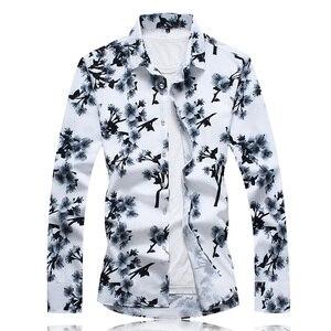 Image 3 - 秋男性カジュアルシャツ 2020 新プラスサイズ長袖シャツ男性ファッションスリムフィットカミーサソーシャルmasculinaブランド服 7XL 6XL