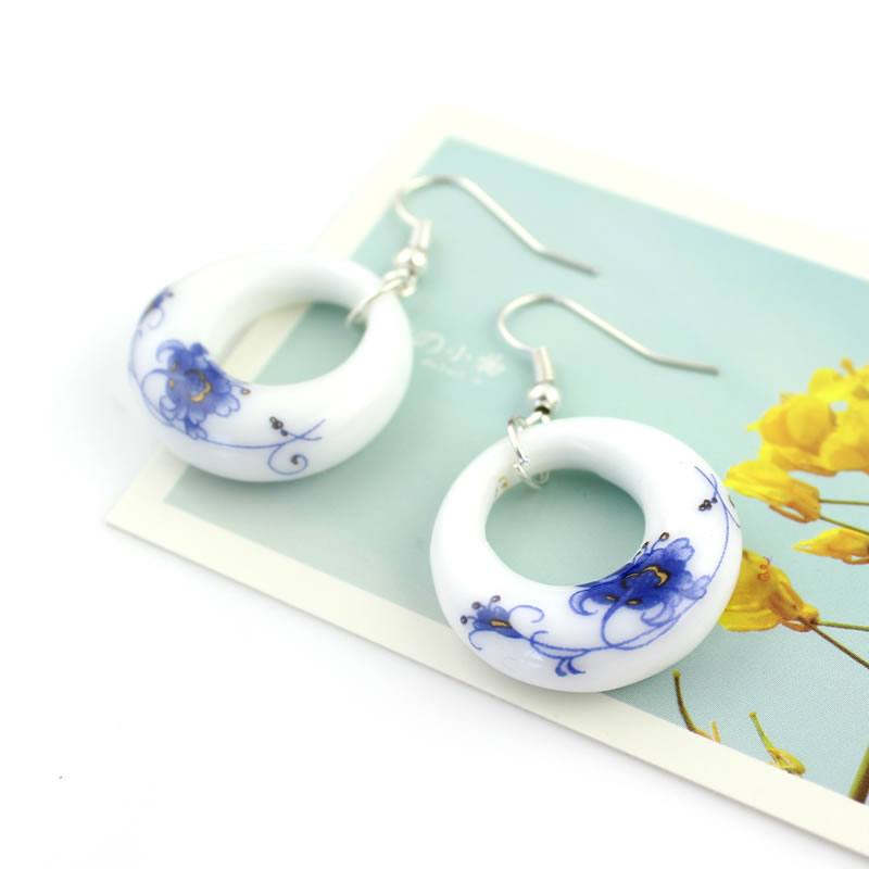 Fashion Romantic Blue and White Porcelain OL Earring Water Drop - Fashion Jewelry - Photo 3