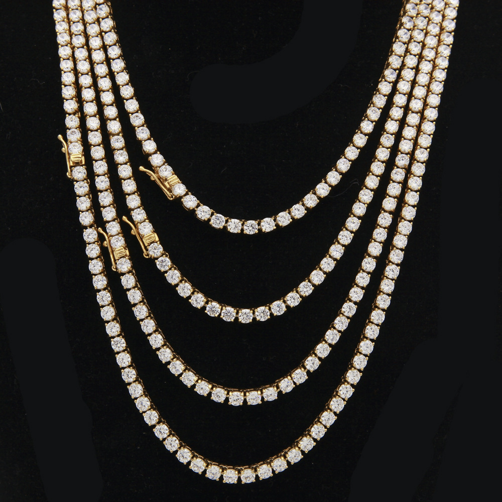 1 Row 4mm Zircon CZ Stone Jewelry sets Golden Rhinestone Women Necklaces Bracelets Sets Bling Hip Hop Chains