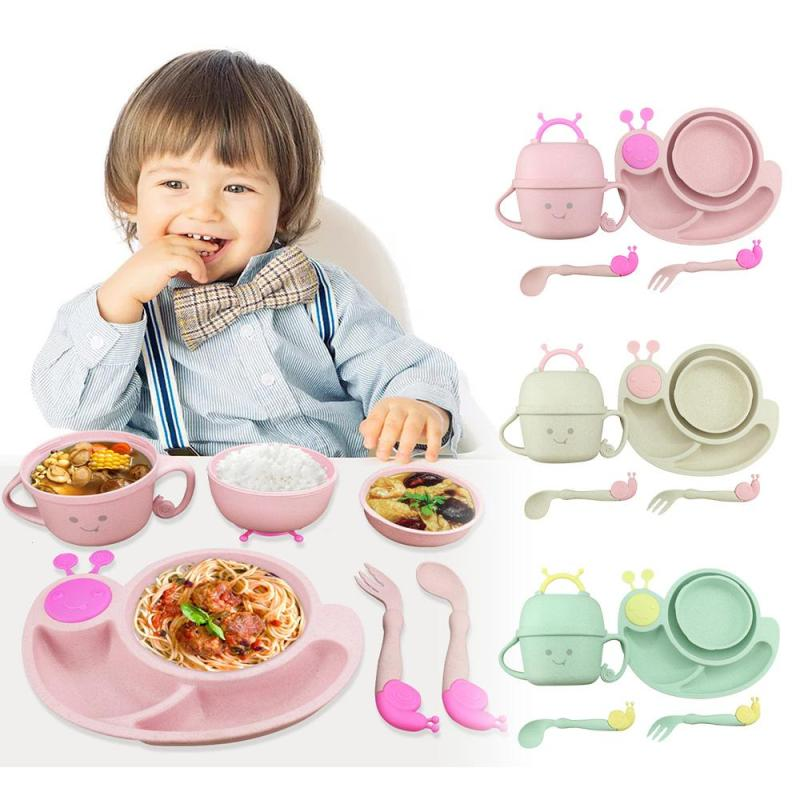 6psc/set snail shaped baby feeding bowl kids tableware training baby feeding bowl cute cartoon Separate dishes and rice D4 6psc top stage