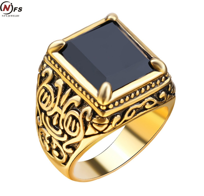 NFS Retro Black Ring Class Medieval Style Punk Mens Rings Square Black Stone Ring For Women Antique Gold Color