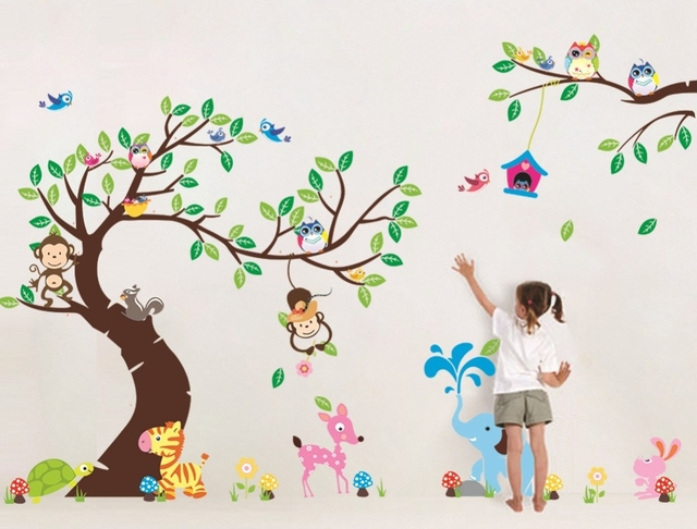 High Cl Monkey Tree Wall Stickers Cartoon Decals Jungle Animals Wallpaper Kids Home Bedroom Nursery Decora