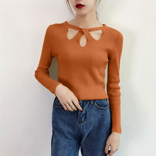 5 Solid Color Knitted Sweater Hollow Sexy Korean Style White Long Sleeve Womens Autumn S-XL All-match Black Pull Femme