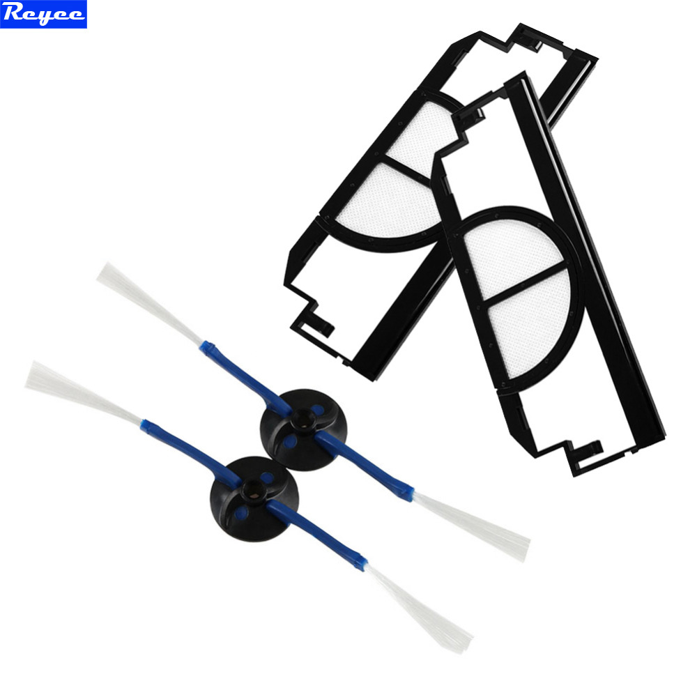 Total 4Pcs 2 x Side brush 2 armed 2 x Black Filter Replacement pack Vacuum Cleaner Accessory Kit for iRobot Roomba 400 Series 3pc brush replacement mini kit 6 armed for irobot roomba 500 series free shipping