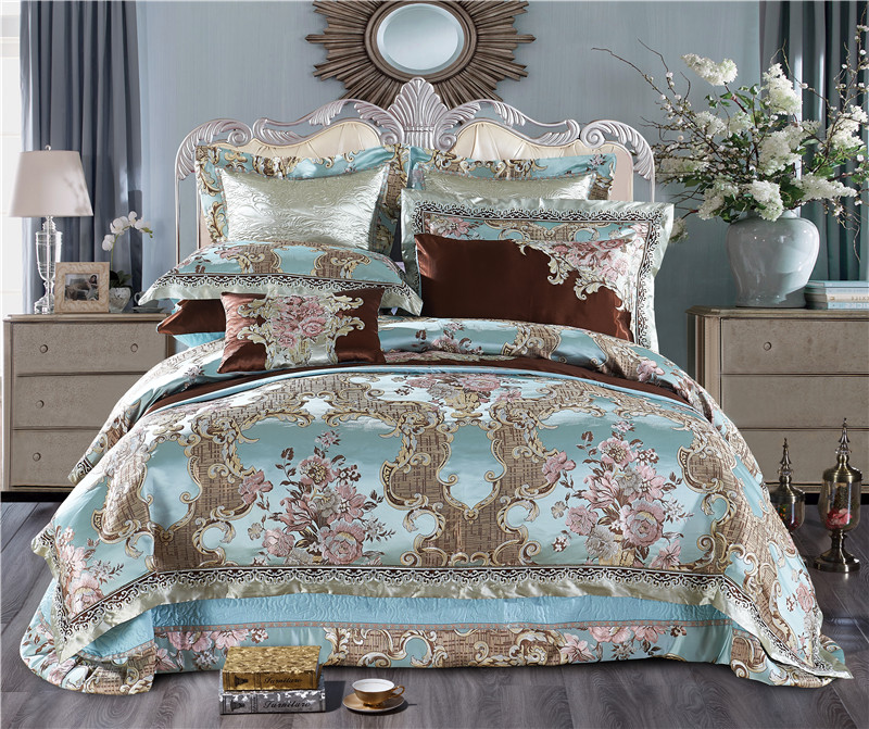 King Queen Size Blue Golden Luxury Wedding Royal Bedding