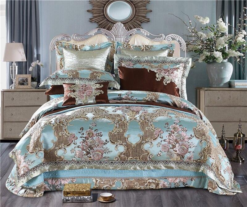 Roi/Reine Taille Bleu Satin De Luxe Literie Reine Roi taille Coton Lit feuille ensemble housse de Couette de Lit juego de cama literie