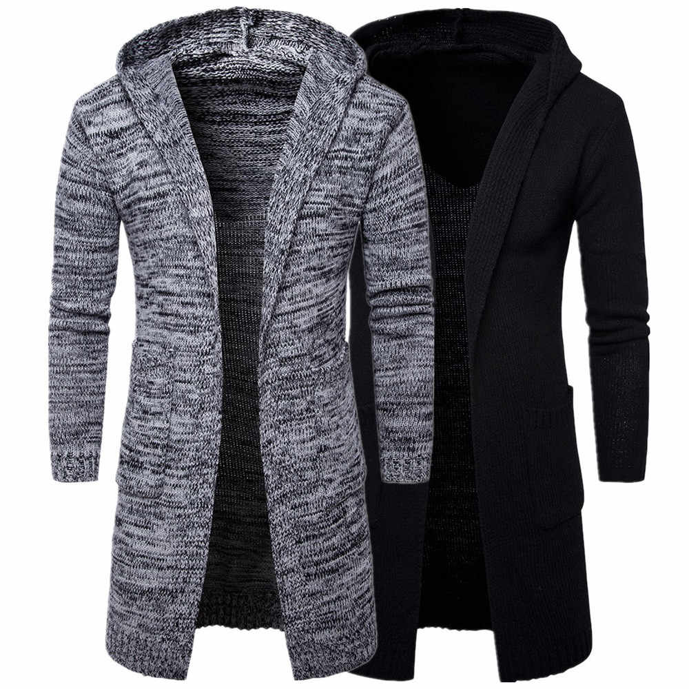 2018 Mens Slim Fit Hooded knit Sweater Fashion Cardigan Long