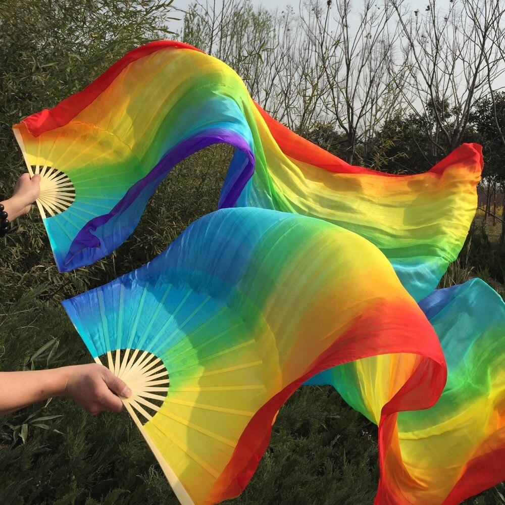 חינם-משלוח אנכי קשת, צבע 100% משי אמיתי אוהד רעלות נחמד multi-צבע מעורבב זמן מעריץ את ההינומה על ריקודי בטן 7 צבעים צבוע