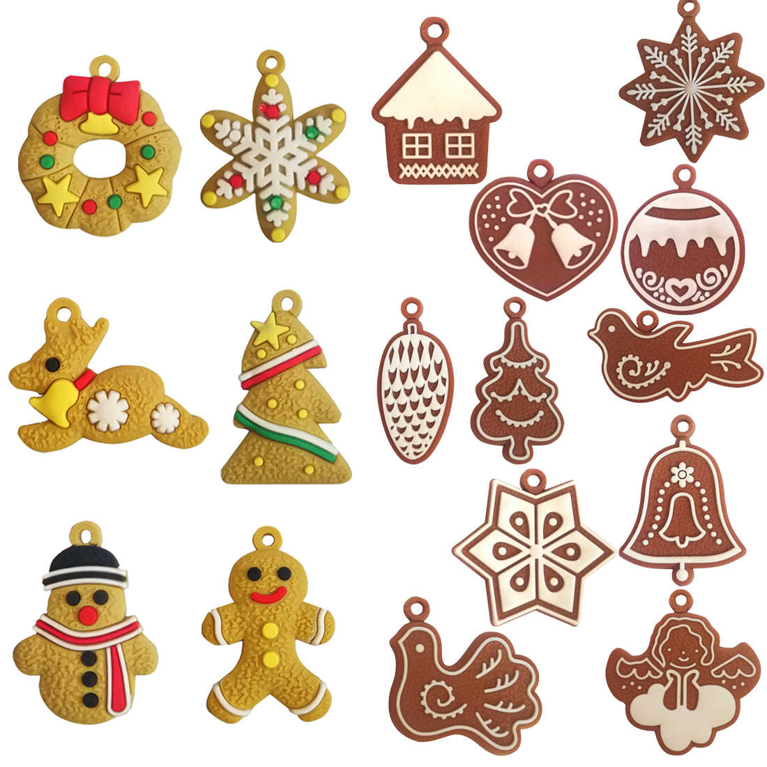 Snowflake Snowman Santa Claus Gingerbread Man Christmas Tree Hanging Ornaments Party Christmas Decorations for Home