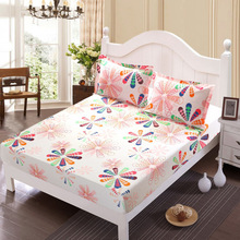 Bed Sheet Without Pillowcase Pink Flower Printed Bed Linen Queen Size Mattress Covers Fitted Sheet Sets With Elastic For King