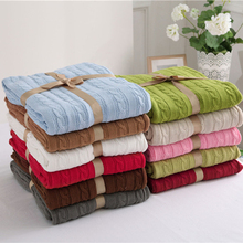NarwalDate 100% Cotton Beige Knitted Blankets for Beds Car Airplane 180x200cm Solid Color Thread Throw Blanket Autumn