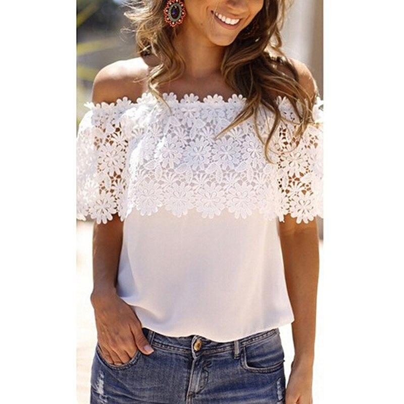 2017 Fashion Summer Women Lace Short Sleeve Vest Casual Tops Off Shoulder T-Shirt Female Floral lace Slash Neck Chiffon Tshirts
