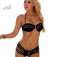 New Hot Women S Speed Sell Bikini Swimsuit Zipper High Quality Split Black Halter Top Bikinis