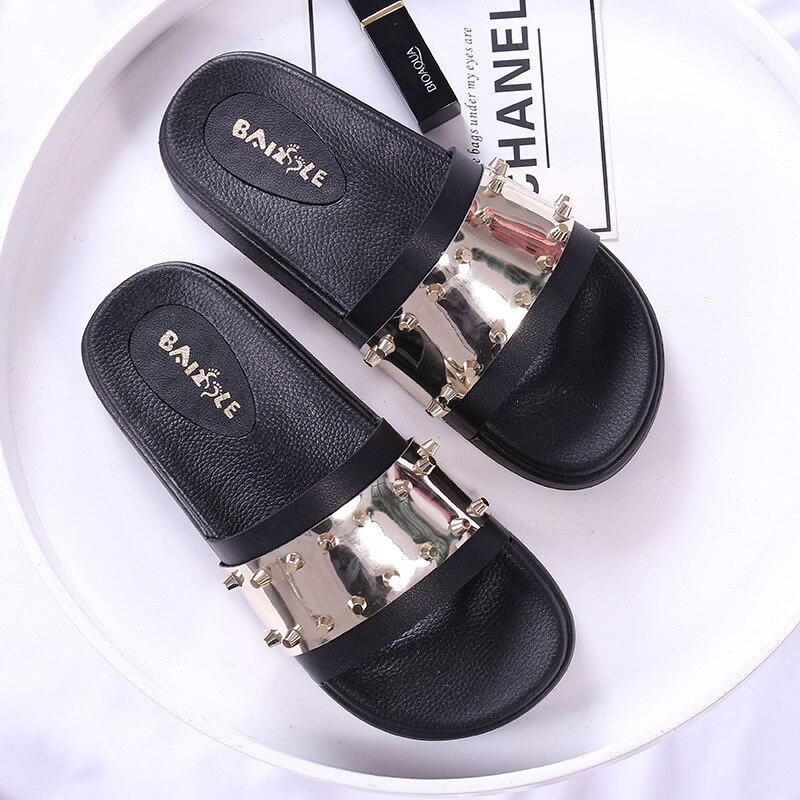 2f002815 US $14.68 40% OFF|Women Slippers Female Platform Shoes Women Flip Flops  Summer Woman Shoes 2018 Rivet Bling Beach Women's Sandals Slides  Slippers-in ...