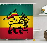 Rasta Shower Curtain, Judah Lion with a Rastafari Flag King Jungle Reggae Theme Art Print, Fabric Bathroom Decor Set with Hooks