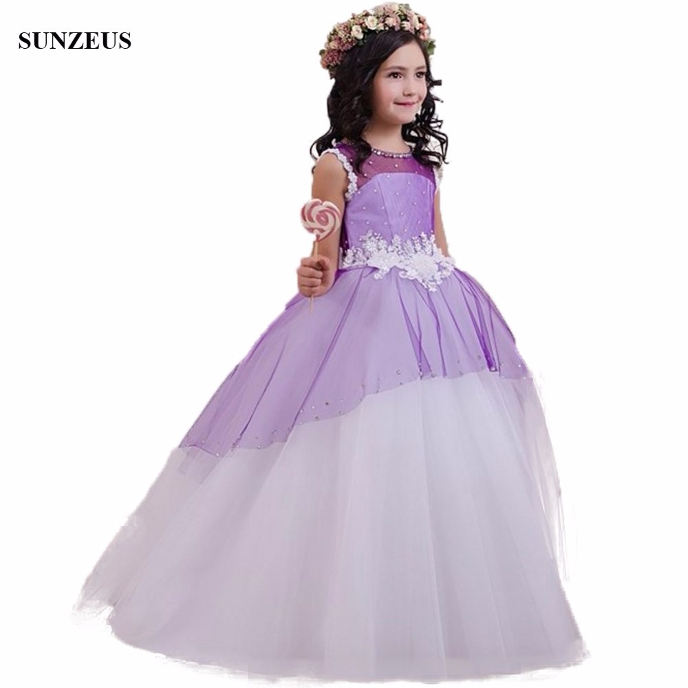Cute Purple White Flower Girl Dress With Beads Appliques Ball Gown