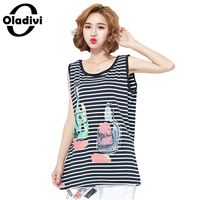 Oladivi 2017 Summer New Women Fashion Print Strip Vest Tank Tops Ladies Sleeveless T Shirt Female