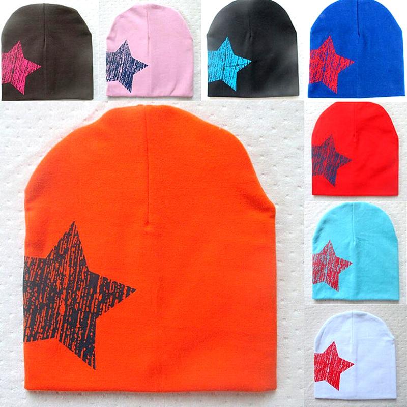 Cotton Baby Hats Star Infant Hedging Hat Soft Caps Geometric 12 Colors Beanie New Cute Bonnet Baseball Cap Baby Boys Accessories
