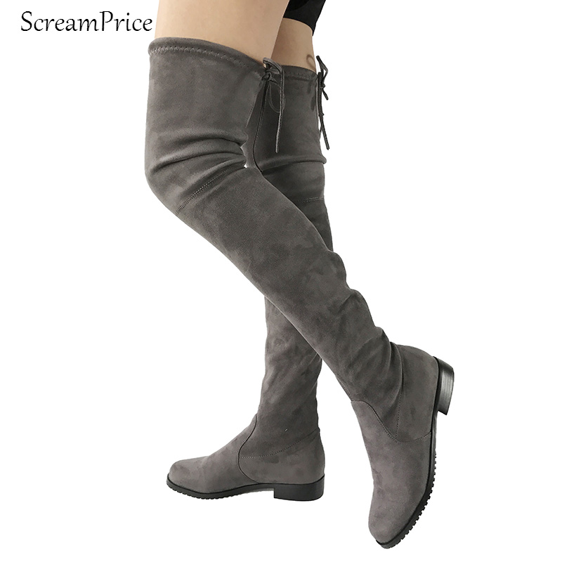 Nude suede thigh high boots