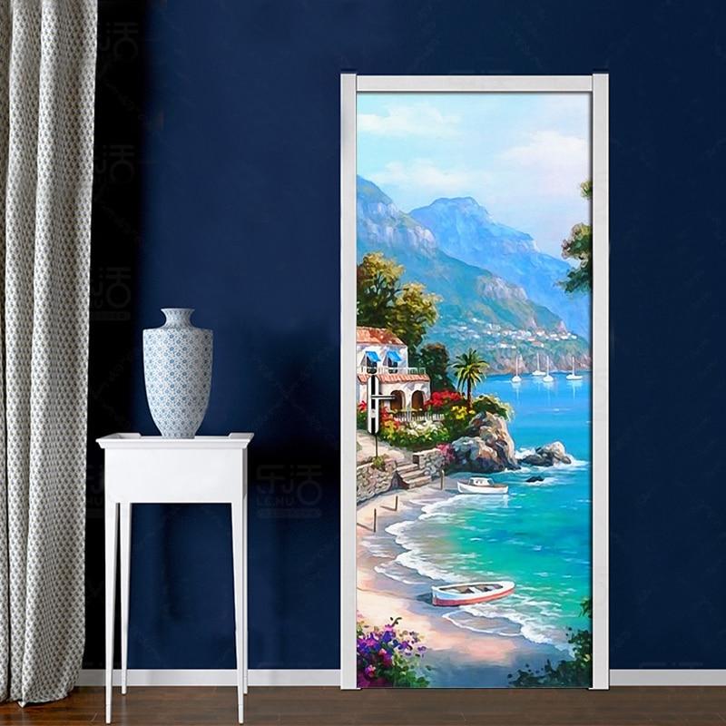 Custom Photo Wallpaper Sea View Oil Painting PVC Self Adhesive Waterproof 3D Door Mural Sticker Home Decor Living Room Bedroom