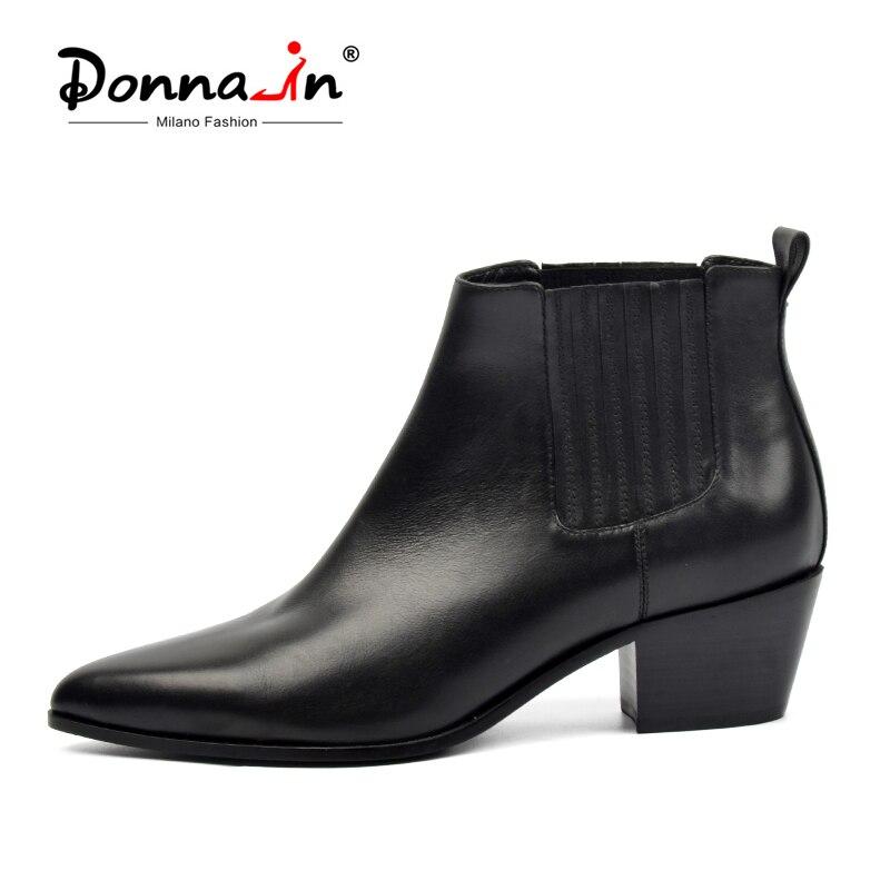 Donna-в брендовые осенние ботильоны Для женщин из натуральной кожи ботильоны челси Дамская обувь Острый носок каблуки Botas Feminina плюс Размеры