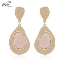 Badu Women Vintage Earring Gold/Silver Metal Dangle Drop Earrings Natural Stone Insert 2019 New Fashion Jewelry Wholesale