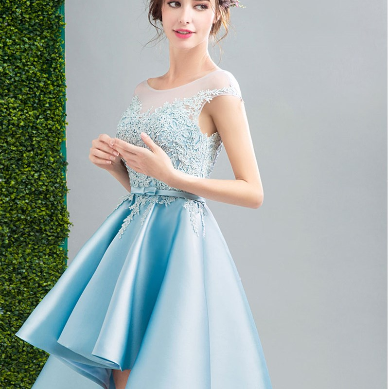581b2c0acb2 ruthshen Light Blue High Low Prom Dresses 2018 Cap Sleeves Lace Appliques  Short Front Long Back Sexy Cocktail Party Dress-in Prom Dresses from  Weddings ...