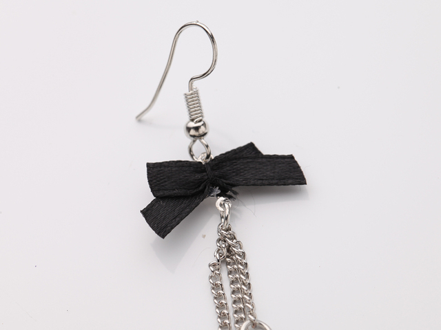 Silver Plated Black Feather Earrings
