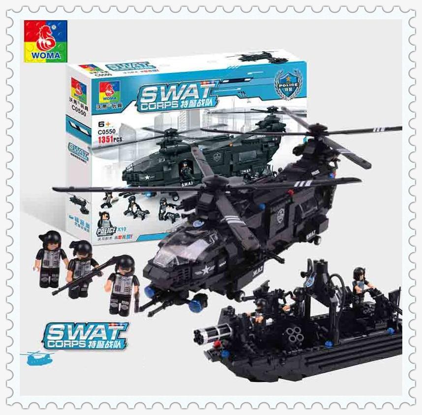 WOMA Military 1351pcs SWAT Police Model Building Blocks Assembly Building Block Education Bricks