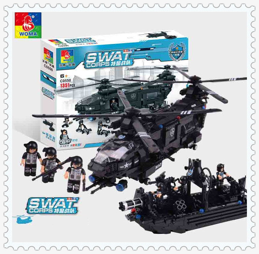 WOMA Military 1351pcs SWAT Police Model Building Blocks with font b Legoes b font Assembly Building