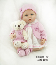 22 inch 55 cm baby reborn  Silicone  dolls, Pretty cute doll with small wool coat small bear plush dolls