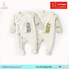 COBROO Newborn Clothes 0-3 Month Unisex Footies Cotton Baby