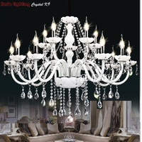 White Fashion Chandelier Crystal Light Modern Large Crystal White Chandelier 18 Arm Luxury Crystal Light Chandeliers