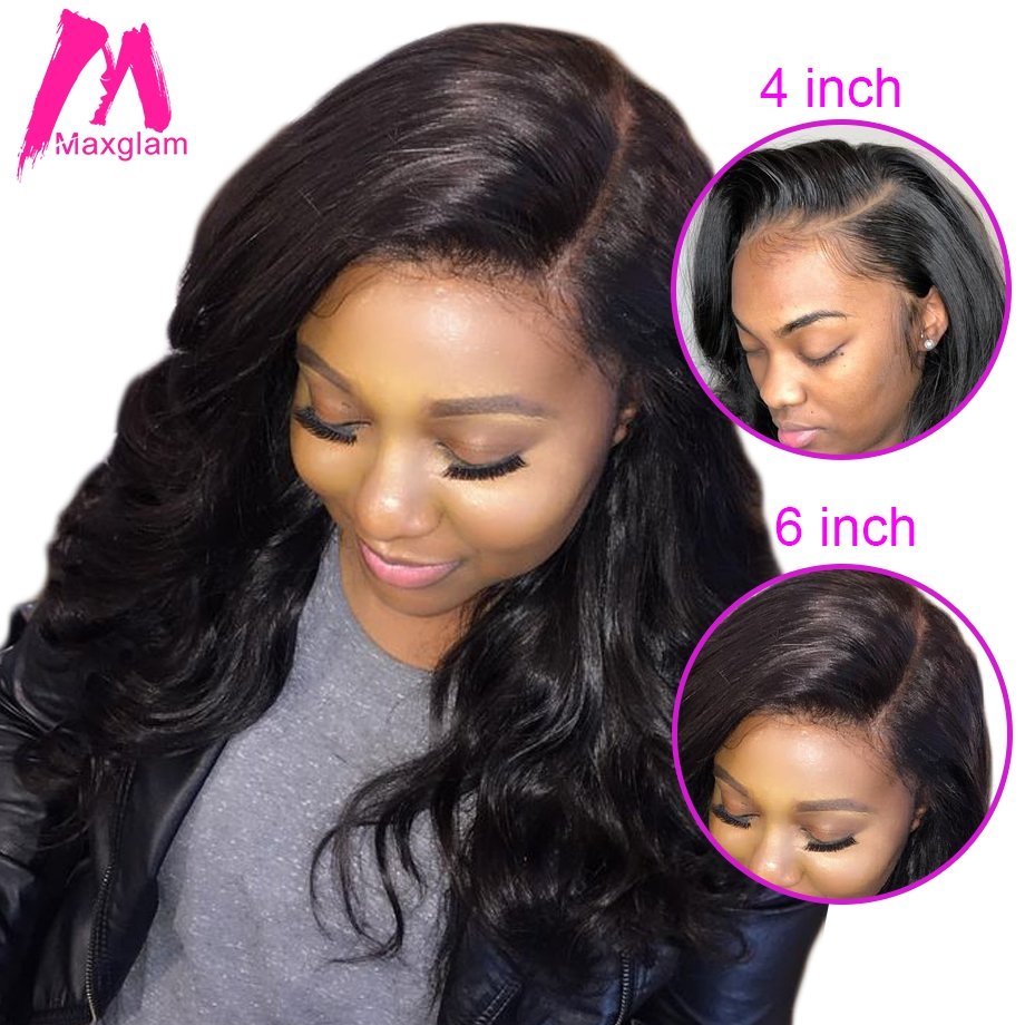 Maxglam Body Wave 13x6 Lace Front Wig 360 Lace Frontal Human Hair Wigs With Pre Plucked Baby Hair Brazilian New Arrival 370 wig(China)