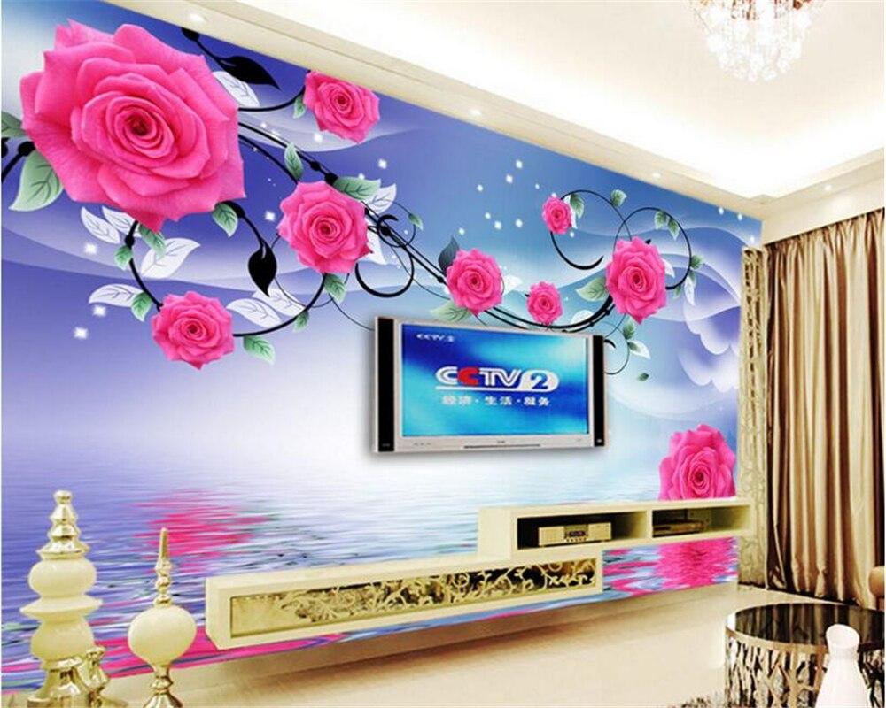 Beibehang personalizado de alta moda estética papel parede atmosférica rosa reflexão televisão fundo behang
