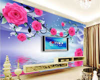 beibehang Custom high fashion aesthetic wallpaper atmospheric rose reflection television background wall papel de parede behang