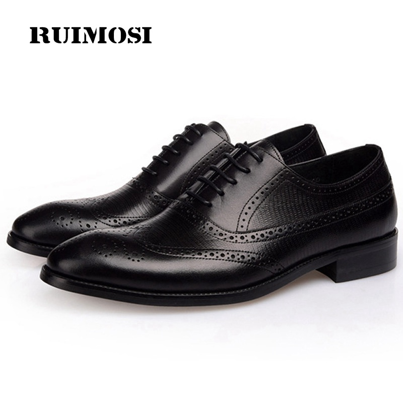 RUIMOSI High Quality Wing Tip Man Formal Dress Shoes Genuine Leather Brogue Cow Oxfords Round Toe British Style Men's Flats MG25