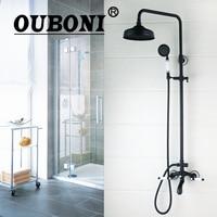OUBONI Round Bathroom Oil Rubbed Bronze Swivel 8 Rainfall Shower Head Heldhead Shower Faucet Set Bathtub