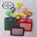 Heart-shaped New Bank Credit Card Holders PU Neck Strap Card Bus ID Holders Identity Badge with Smile Face Retractable ReelPY044