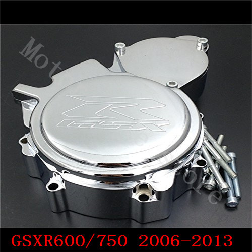 Fit for Suzuki GSXR600 GSXR750 2006 2007 2008 2009 2010 2011 2012 2013 Motorcycle Engine Stator cover Chrome Left side K6 K8 K11 aftermarket free shipping motorcycle part engine stator cover for suzuki gsxr600 750 2006 2007 2008 2009 2013 black left side