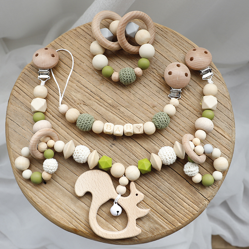 3PCS/Set Baby Toys Silicone Beads Teethers Wooden Rings Handmade Bracelet Pacifier Chain Clips Teething Pram Cart  Baby Products