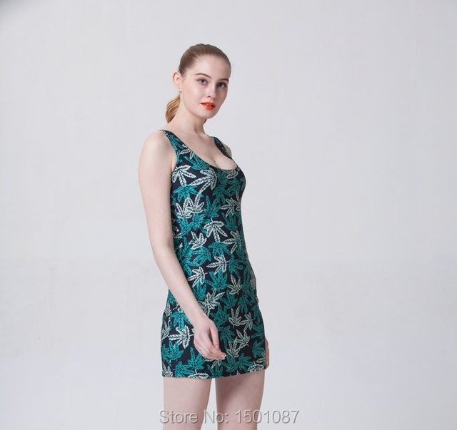 Hot Selling Women Sexy Sleeveless Tennis Sports Dress Lady Elastic Slim Sundress Vogue Girls Green Leaf Digital Print Dress