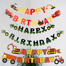 Happy Birthday Banner Engineering vehicle tractor Car Bunting Hang Garland Party Decor Decorations