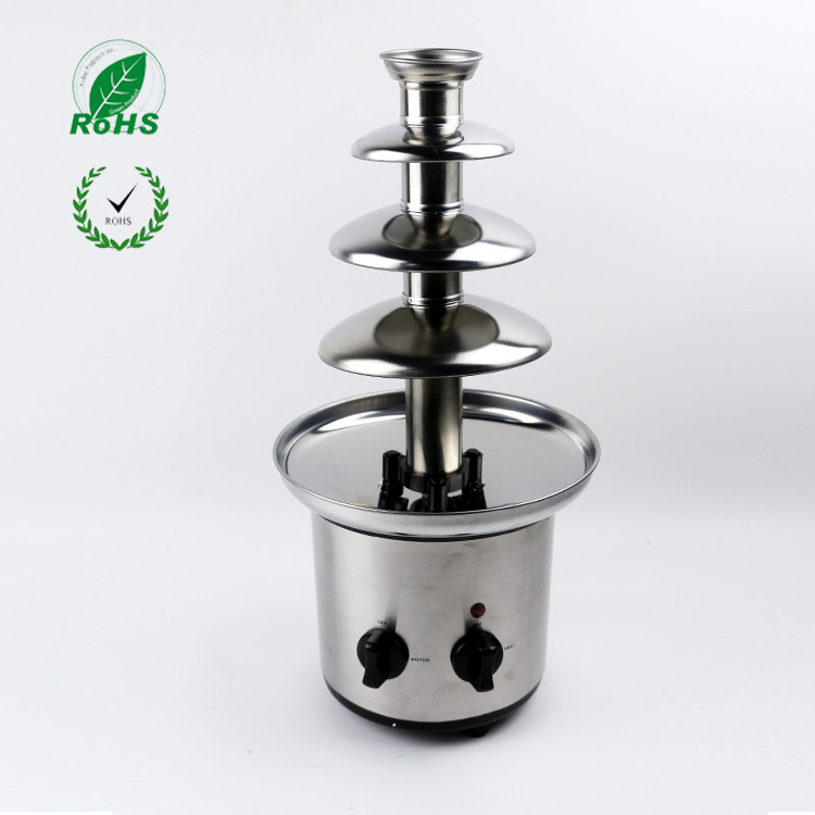 Фотография 4 tiers 46cm Fantanstic Stainless Steel Chocolate fountain machine 220V Fondue Event Exhibition Wedding Birthday Party