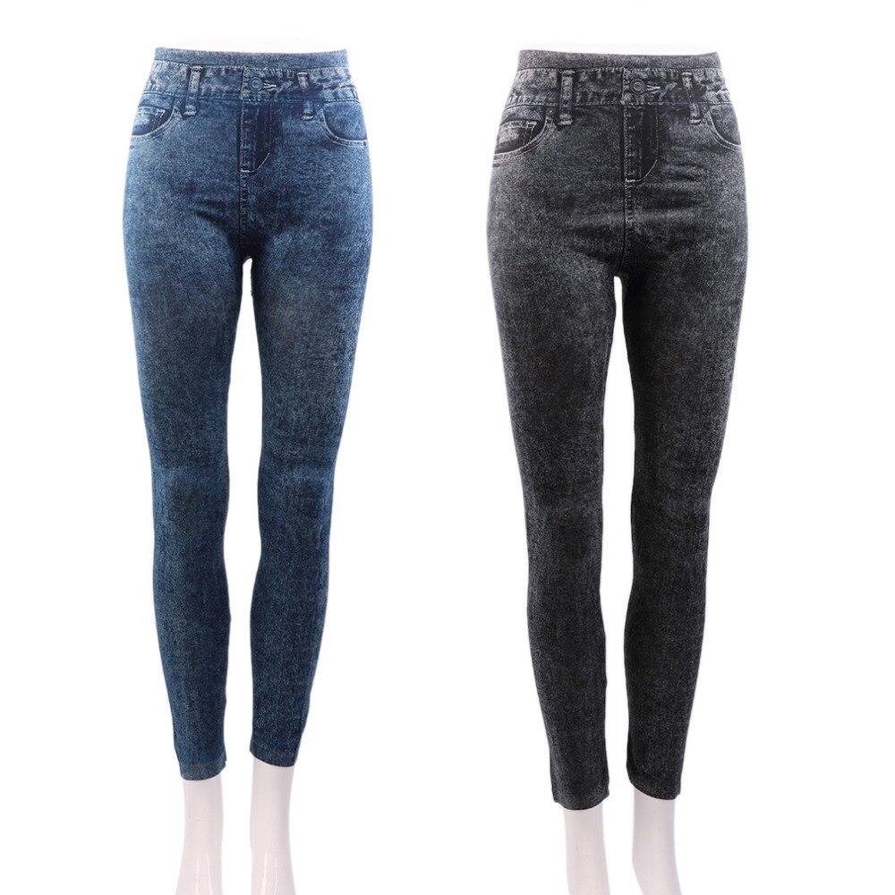 2016 Women Stretch Denim Jean Look Skinny Leggings Slim Jeggings Pants Academies American Apparel Faux Denim Pencil Pants New