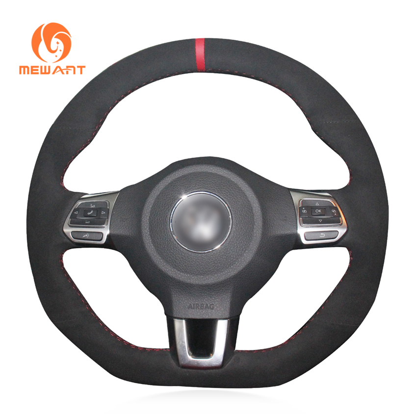 MEWANT Black Suede Real Leather Steering Wheel Cover for Volkswagen Golf 6 GTI MK6 VW Polo GTI Scirocco R Passat CC R-Line 2010 mewant diy car steering wheel cover black suede for volkswagen vw golf 7 gti golf r mk7 vw polo gti scirocco 2015 2016