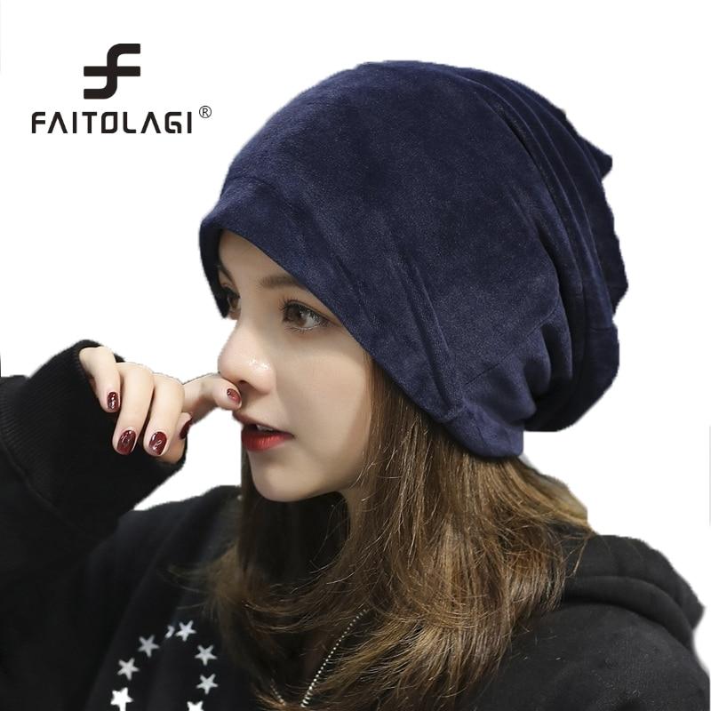 Women Skullies Beanies Winter Spring Velvet Hat Female Casual Outdoor Ski Caps bonnet femme Warm Beanie beanie