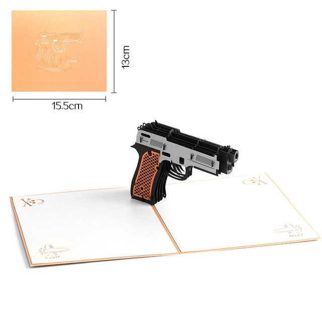 3d Laser Cut Handmade Cool Handgun Shape Paper Festival Greeting