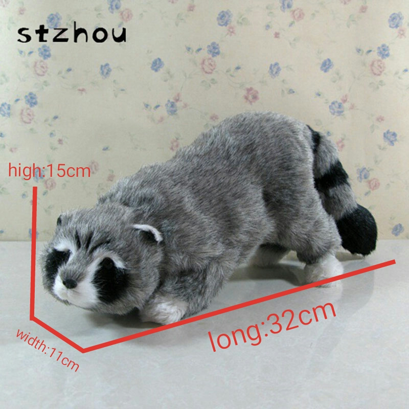 Big Size 32*11*15cm Cute Simulation Raccoon Toy Lifelike Gray Raccoon Toy Gift Home Decoration large 24x24 cm simulation white cat with yellow head cat model lifelike big head squatting cat model decoration t187