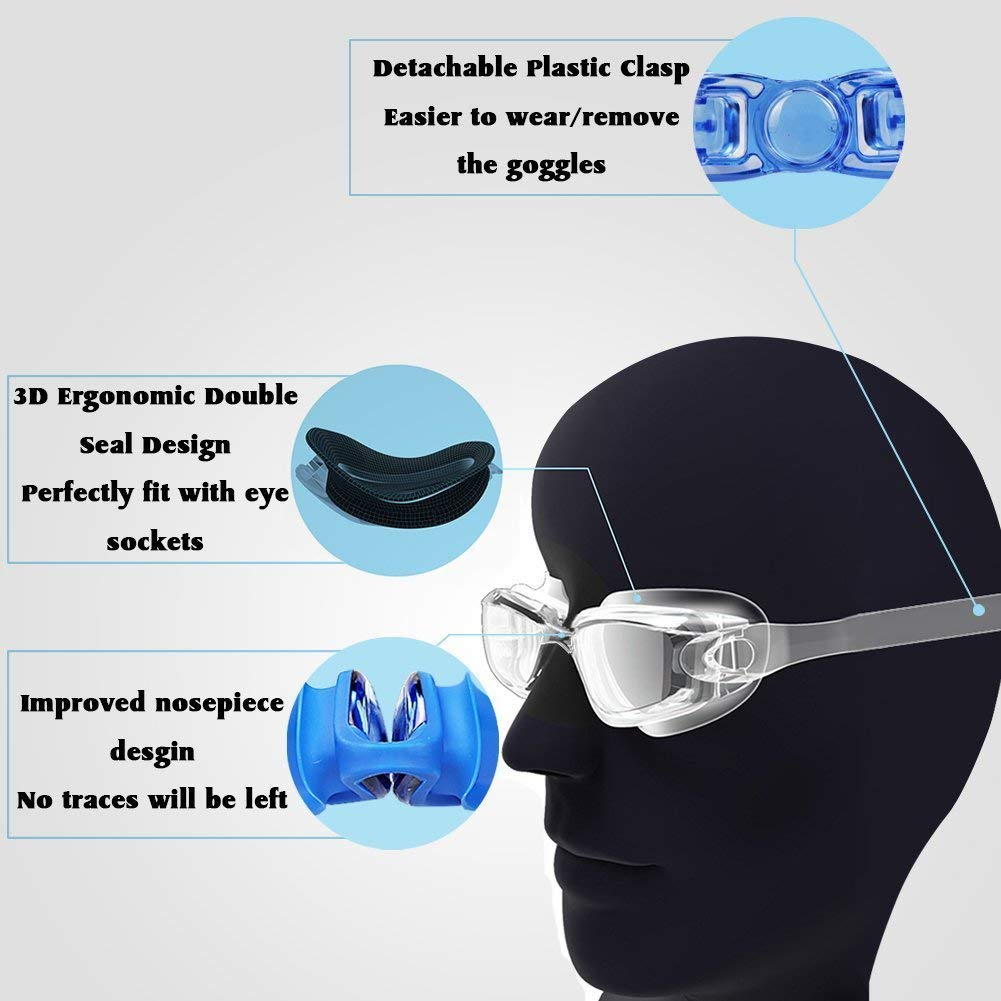Myopia 5 In 1 Prescription Swimming Goggles For Adult With Anti Fog UV Waterproof Glasses 5